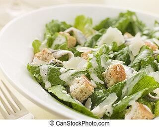 caesar, tigela, salada