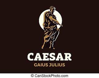 Caesar. Vector emblem. - Caesar in a laurel wreath with a...
