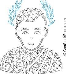 Caesar Wreath Polygonal Frame Vector Mesh Illustration -...