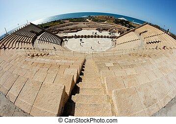 caesarea, amphitheater, fisheye, ansicht