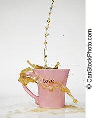 café, éclaboussure, amour, grande tasse