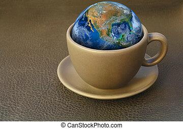 café, éléments, cup., meublé, ceci, image, nasa, la terre