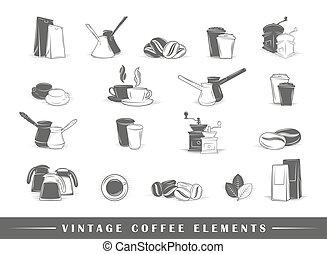 café, éléments, retro