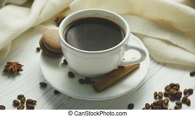 café, épices, tasse, macaron