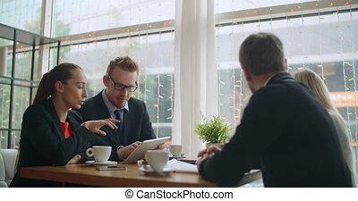 café, équipe, business