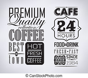 café, étiquettes, ensemble