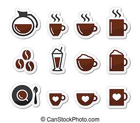 café, étiquettes, ensemble, icônes
