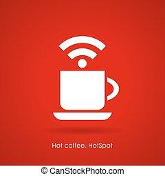 café, ícone internet