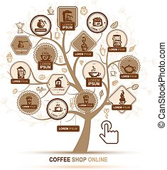 café, ícones conceito, -, árvore, infographic, desenho, seu