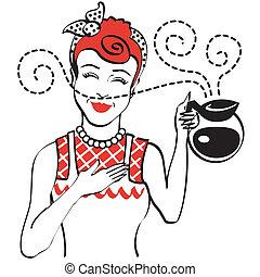 café, 1950s, vendimia, olla, retro, mamá