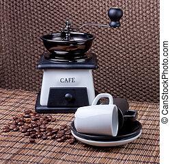 café, accessoires, natte