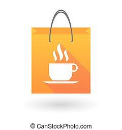 café, achats, tasse, sac, orange, icône