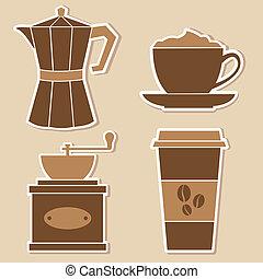 café, adesivos