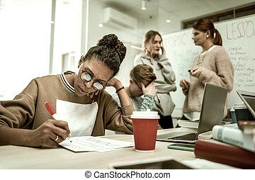 café, african-american, notes, étudiant, confection, boire