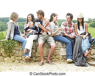 café, aire libre, grupo, relajante, gente