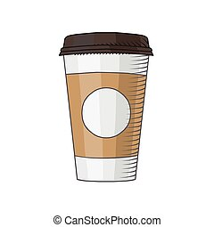 café, aislado, ilustración, taza