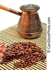 café, aislado, mano, olla, cucharilla, tenencia, blanco, ...