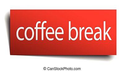 café, aislado, señal, interrupción, papel, rojo blanco