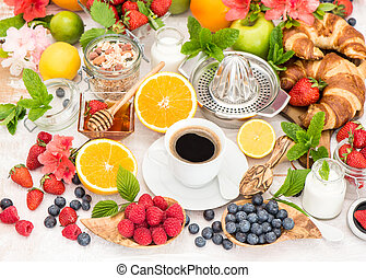 café, alimento saudável, ajustando tabela, pequeno almoço, granola., croissants