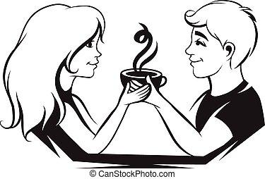 café, amour, couple