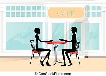 café, amour, couple, silhouettes, séance, table, romantique, dater, boisson café