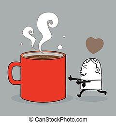 café, amour, homme affaires