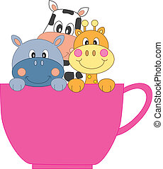 café, animales, taza