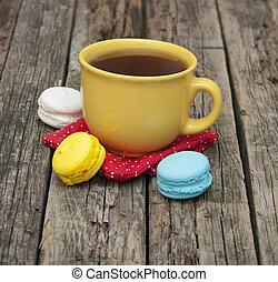 café, antigas, coloridos, copo, madeira,  macaroon, fundo