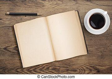 café, antigas, copo, madeira, caneta, diário, tabela, abertos
