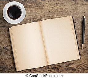 café, antigas, copo, madeira, caneta, livro, tabela, abertos