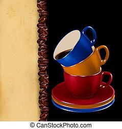 café, antigas, illustration., coloridos, paper., vetorial, fundo, copos