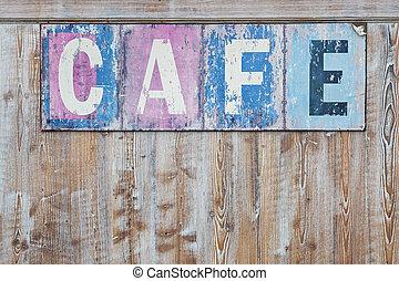café, antigas, resistido, sinal