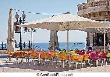 café, ao ar livre, praia
