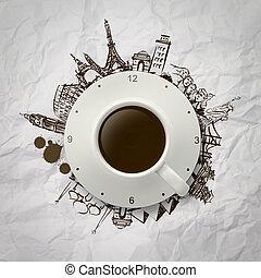 café, ao redor, copo, viajando, mundo, 3d