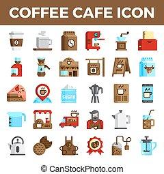 café, apartamento, café, ícones