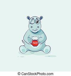café, apenas, copo, personagem, cima, hipopótamo, caricatura, woke, emoji