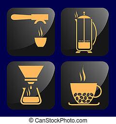 café, apparenté, icônes