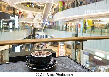 café, apprécier, centre commercial