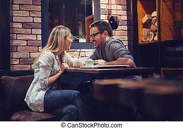 café, apprécier, séance, couple, conversation., café, aimer