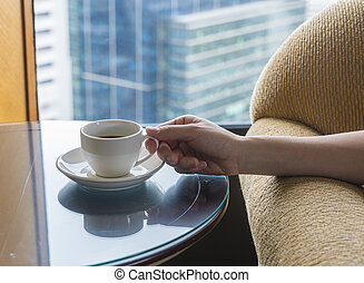 café, apprécier, salle, hôtel