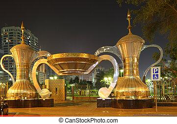 café arábico, potes, em, parque, entrada, em, abu dhabi