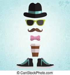 café, arc, lunettes, hipster, chapeau, homme
