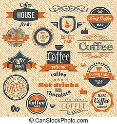 café, arrière-plans, étiquette, timbres, vecteur, conception