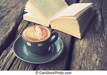 café, arte, taza, vendimia, latte, libro, madera, escritorio, col