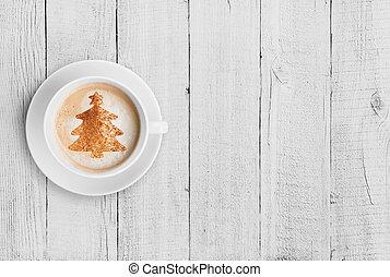 café assalta, com, forma árvore christmas, branco, madeira, tabela