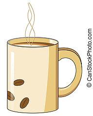 café assalta, com, um, quentes, vapor, e, feijão, desenho