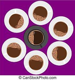 café, autour de, cup., tasse, sommet, noir, blanc, vue