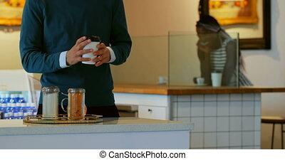 café, avoir, café, homme, 4k