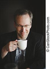 café, avoir, homme
