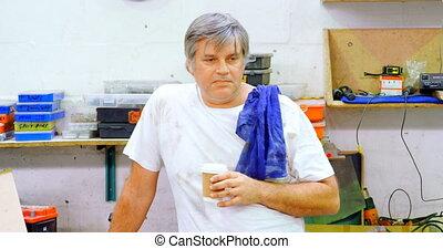café, avoir, mâle, mécanicien, 4k, garage